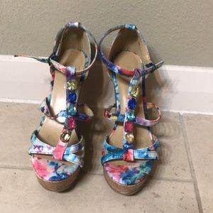 Strappy watercolor/floral jeweled wedges